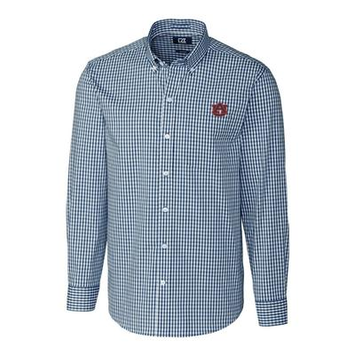 Auburn Cutter & Buck Big and Tall Stretch Gingham Woven Shirt