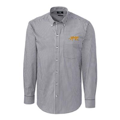 LSU Cutter & Buck Big and Tall Stretch Gingham Woven Shirt