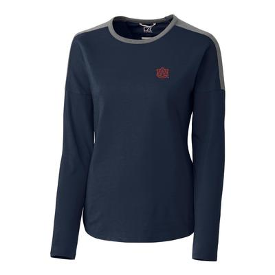 Auburn Cutter & Buck Women's Cheerblock Long Sleeve Top