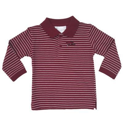 Arkansas Toddler Striped Long Sleeve Golf Shirt