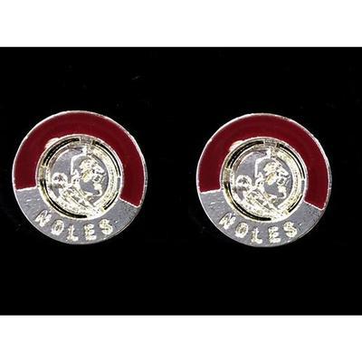 Florida State Enamel Circle Earrings