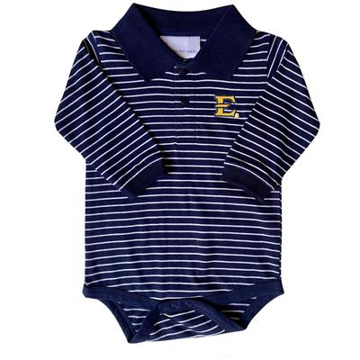 ETSU Infant Striped Long Sleeve Golf Creeper