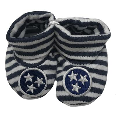 Tennessee Infant Navy Tristar Striped Booties