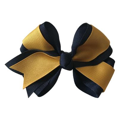 Navy and Gold Fluff Bow