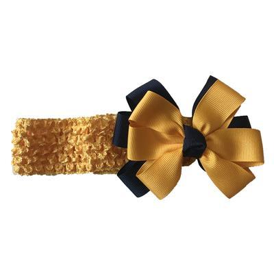 Navy and Gold Crochet Double Fluff Headband