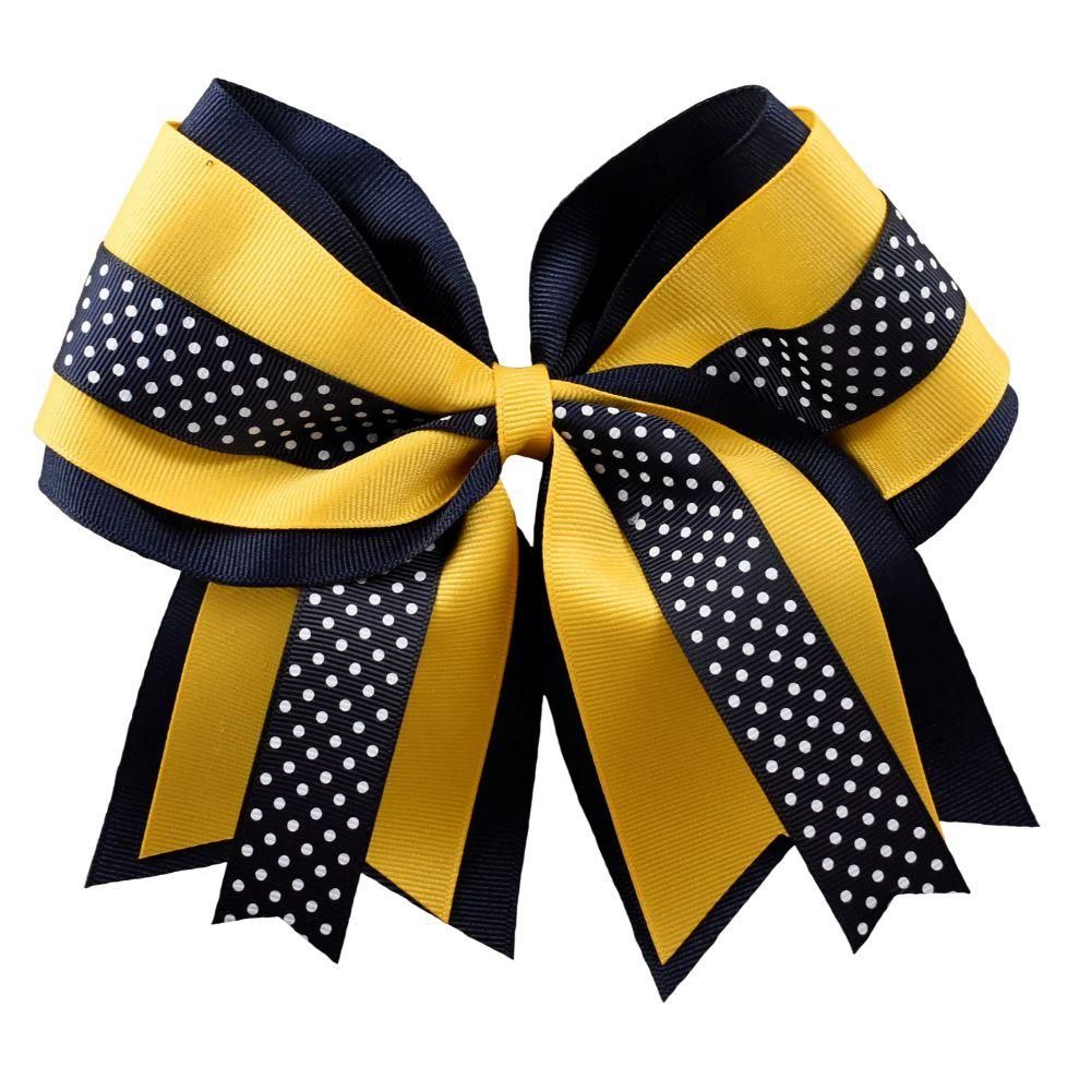 Navy And Gold Layer Dot Cross Hair Bow