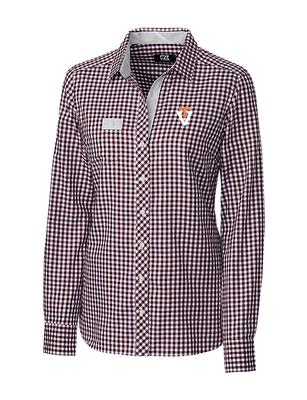 Virginia Tech Cutter & Buck Women's Gingham Button Down Vault Logo Shirt