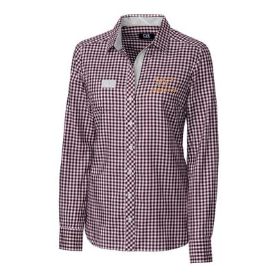 Virginia Tech Cutter & Buck Women's Gingham Button Down Shirt