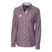 Virginia Tech Cutter & Buck Women's Gingham Button Down Shirt