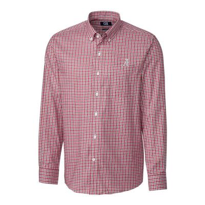 Alabama Cutter & Buck Lakewood Check Woven Dress Shirt