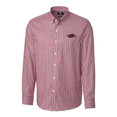 Arkansas Cutter & Buck Lakewood Check Woven Dress Shirt
