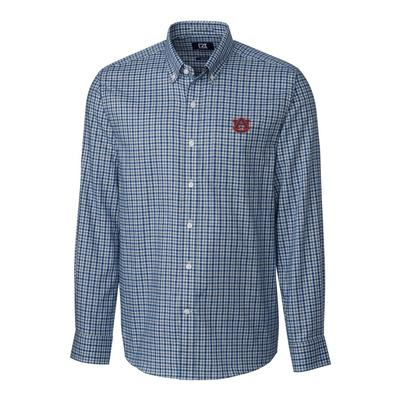 Auburn Cutter & Buck Lakewood Check Woven Dress Shirt