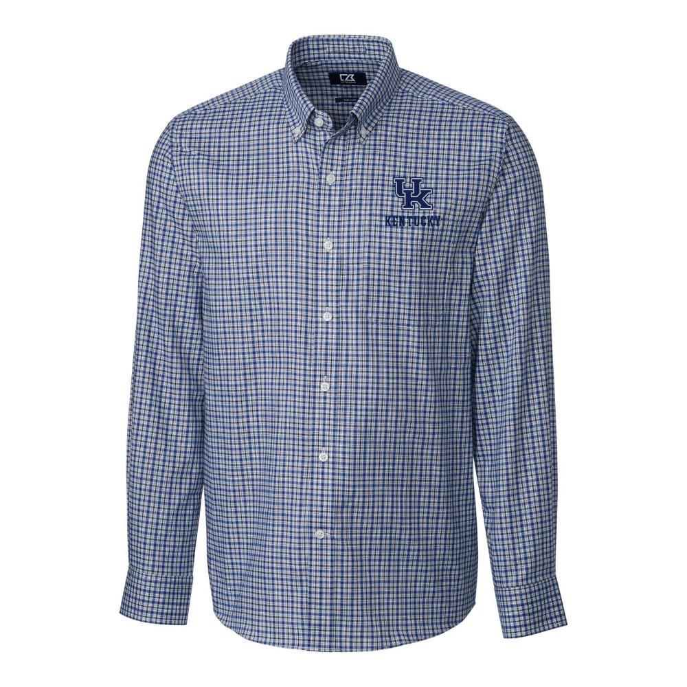 Kentucky Cutter & Buck Lakewood Check Woven Dress Shirt