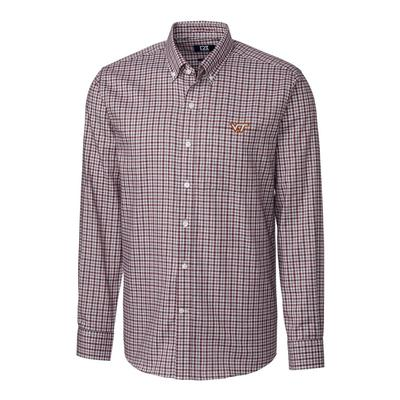 Virginia Tech Cutter & Buck Lakewood Check Woven Dress Shirt