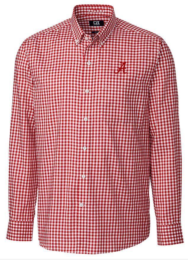 Alabama Cutter & Buck League Gingham Woven Dress Shirt