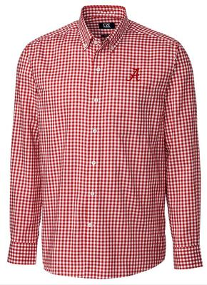 Alabama Cutter & Buck League Gingham Woven Dress Shirt