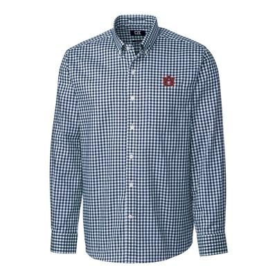 Auburn Cutter & Buck League Gingham Woven Dress Shirt