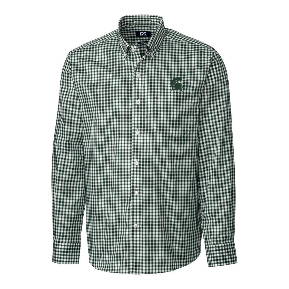 Michigan State Cutter & Buck League Gingham Woven Dress Shirt