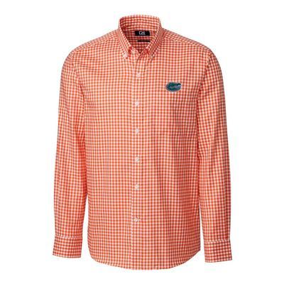 Florida Cutter & Buck League Gingham Woven Dress Shirt ORG