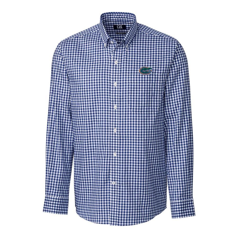 Florida Cutter & Buck League Gingham Woven Dress Shirt