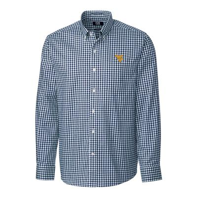 West Virginia Cutter & Buck League Gingham Woven Dress Shirt