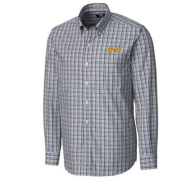 LSU Cutter & Buck Gilman Plaid Woven Dress Shirt
