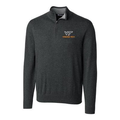 Virginia Tech Cutter & Buck Lakemont Half Zip Pullover CHARCOAL_HTHR