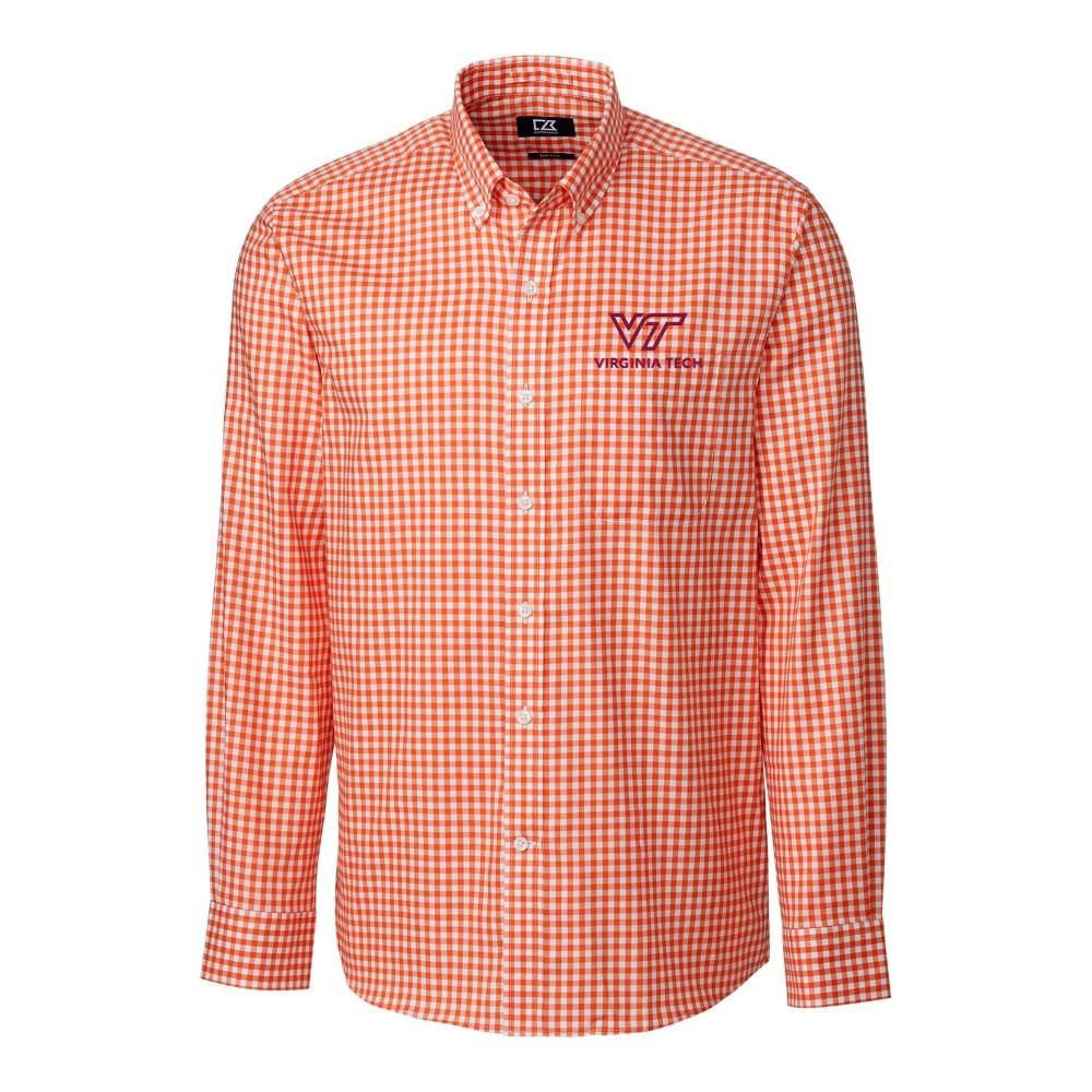 Virginia Tech Cutter & Buck League Gingham Woven Dress Shirt