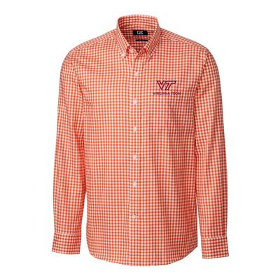 Virginia Tech Cutter & Buck League Gingham Woven Dress Shirt