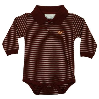 Virginia Tech Infant L/S Stripe Golf Creeper