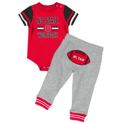NC State Colosseum Infant Football Onesie Set