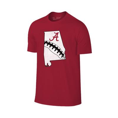 Alabama State Outline Football T-shirt CRIMSON