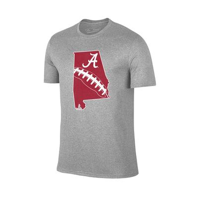 Alabama State Outline Football T-shirt GREY