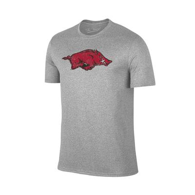 Arkansas Giant Running Hog Logo T-shirt GREY