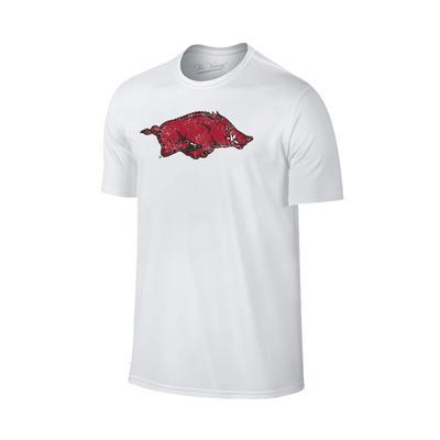 Arkansas Giant Running Hog Logo T-shirt WHT