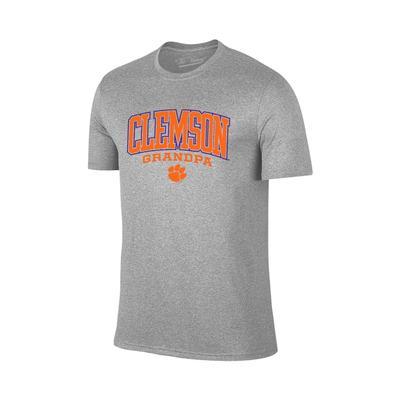 Clemson Arch Logo Grandpa T-shirt GREY