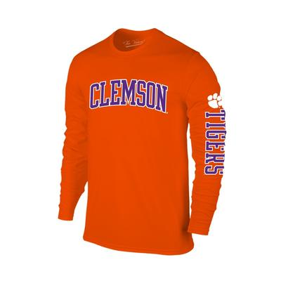 Clemson Arch Logo 2 Location Long Sleeve Tee ORG