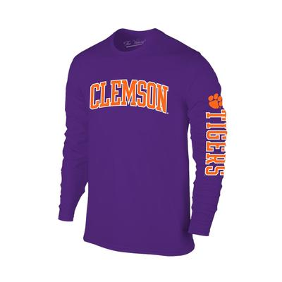 Clemson Arch Logo 2 Location Long Sleeve Tee PURPLE