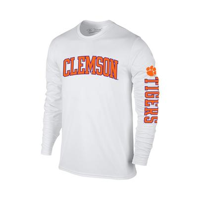 Clemson Arch Logo 2 Location Long Sleeve Tee WHT