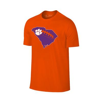 Clemson State Outline Football Laces T-shirt ORG