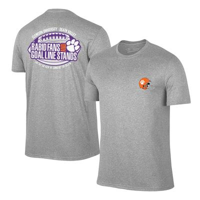 Clemson Rabid Fans and Goal Line Stands Tee GREY