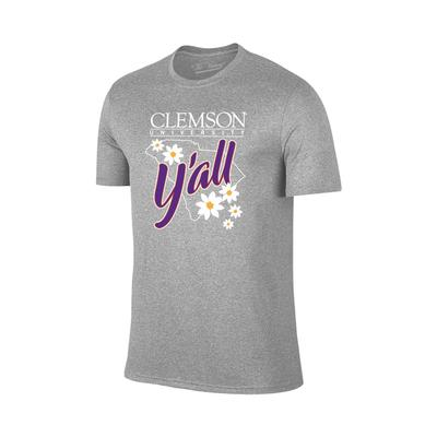 Clemson Women's Y'all State Outline T-shirt GREY