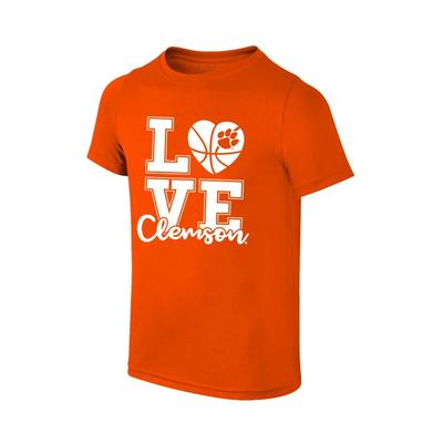 Clemson Youth Love Basketball T-shirt