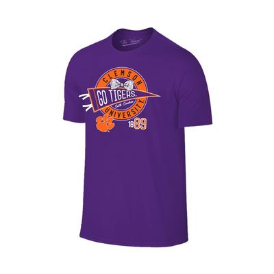 Clemson Youth Pennant Bowtie Circle Tee PURPLE
