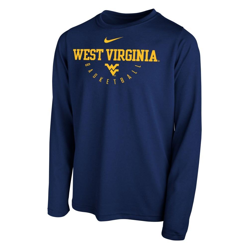 West Virginia Nike Youth Long Sleeve Basketball Legend Tee