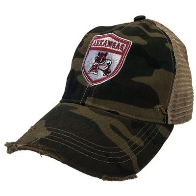 Arkansas Retro Brand Vault Shield Trucker Cap