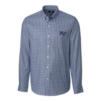 MTSU Cutter & Buck Lakewood Check Woven Dress Shirt