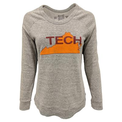 Virginia Tech Retro Brand Tech State Scoop Crewneck