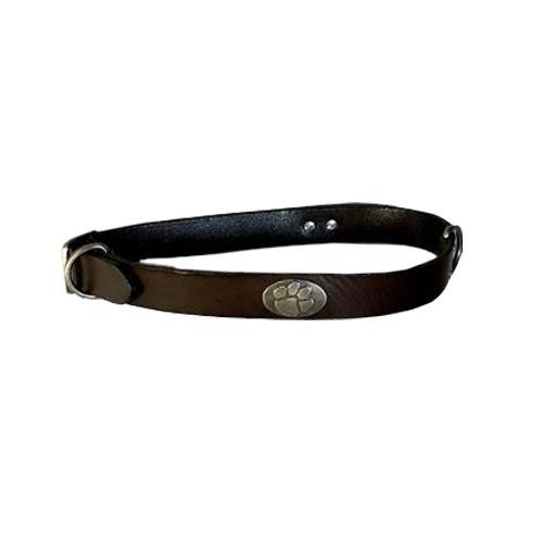 Clemson Concho Leather Dog Collar