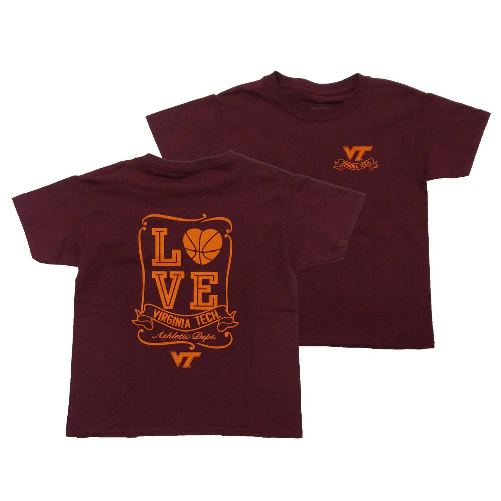 Virginia Tech Youth Love Basketball T- Shirt